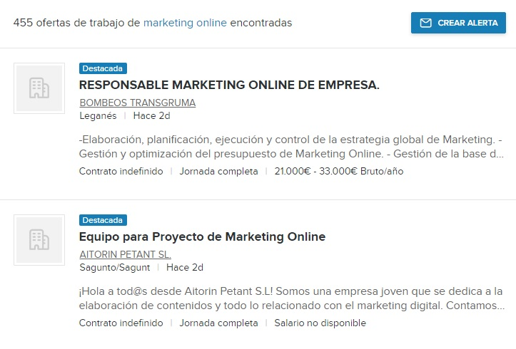 ofertas trabajo marketing online