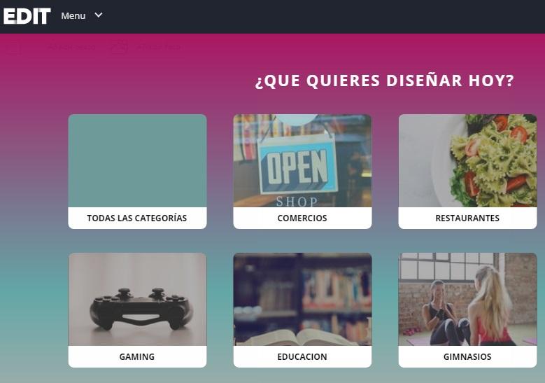 edit elige categorias para el diseño de tus publicaciones