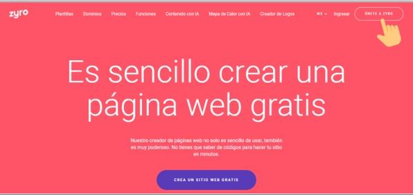 zyro plataforma creador paginas webs