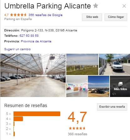 Ficha Umbrella Parking Alicante en Google My Business