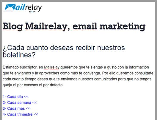 buen ejemplo email marketing preguntar frecuencia de envío