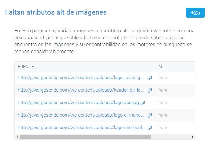 content king analisis etiqueta alt imagenes