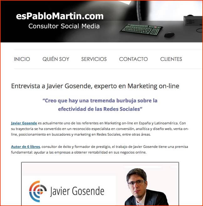 Entrevista sobre Marketing Online en el blog de Pablo Martín