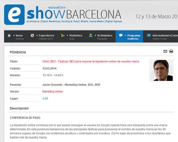 Ponencia de Reputación Online SEO en el eShow Barcelona 2014