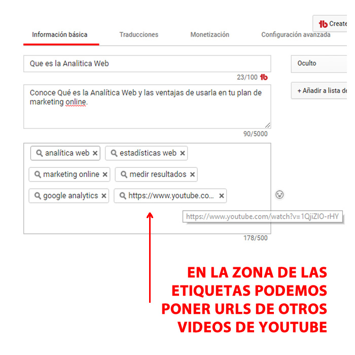 etiquetas o tags videos youtube poner url de otros videos