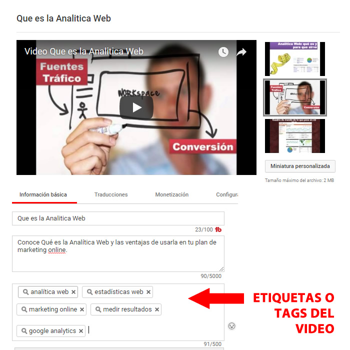 etiquetas o tags videos youtube