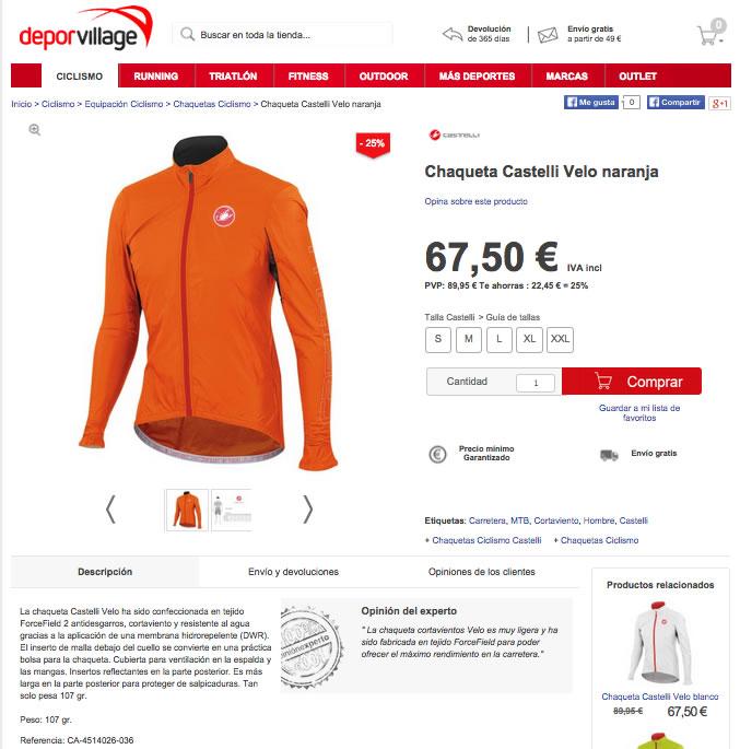 ficha de producto tienda online deporte village
