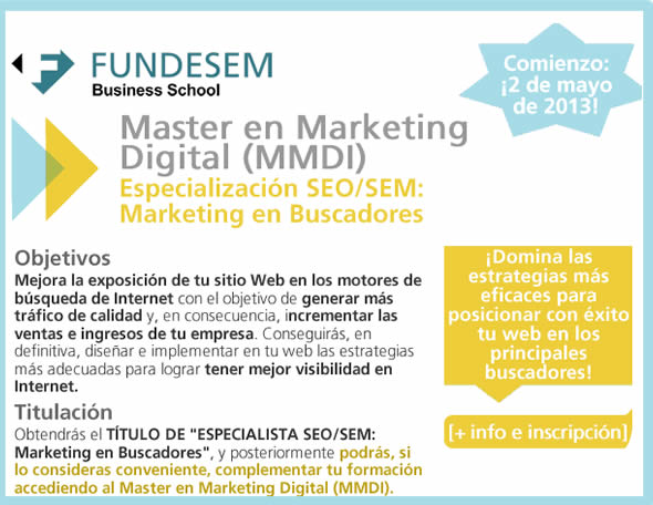 Especialización en Marketing de Buscadores en Fundesem Alicante