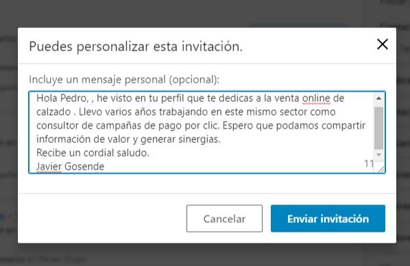 mensaje contacto linkedin profesional 2