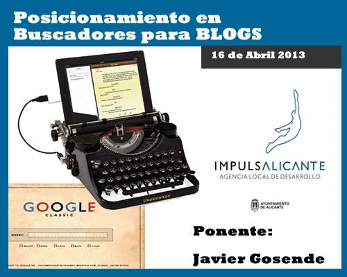 Posicionamiento en buscadores para Blogs: Charla en Alicante