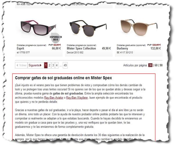 seo tienda online ejemplo mister spex