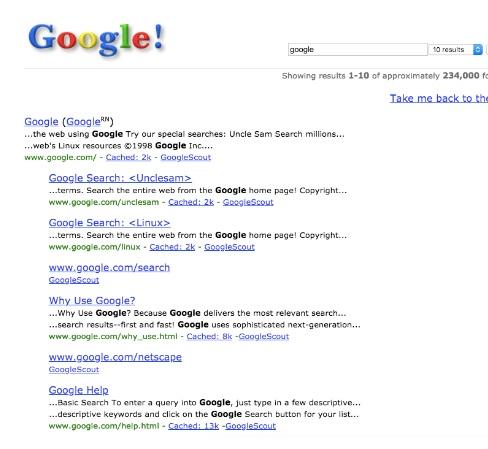 serp de google antiguos