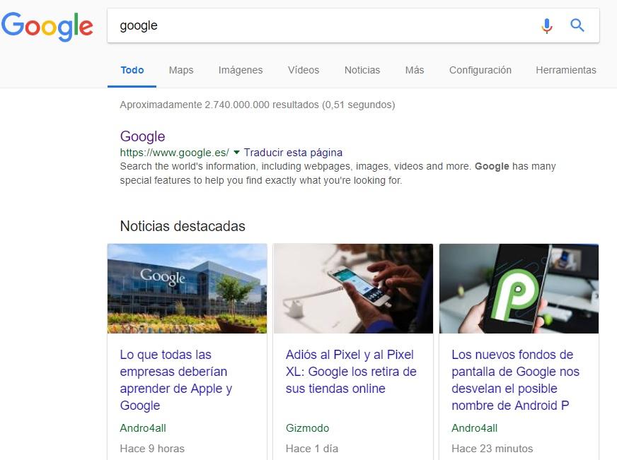 serp de google en la actualidad