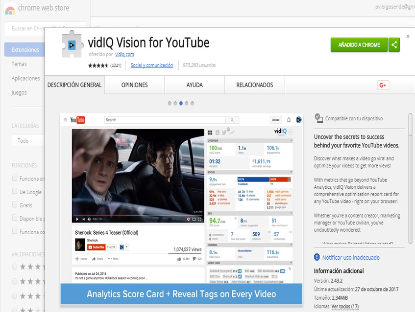 vidiq para ver videos youtube